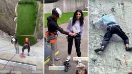 Aislinn Derbez saca su lado más extremo y escala un muro de más de 100 metros de altura