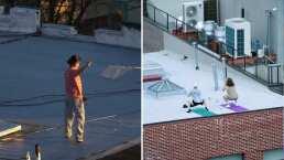 Desde hacer ejercicio hasta volar un papalote, así pasan la cuarentena en la azotea vecinos de Nueva York