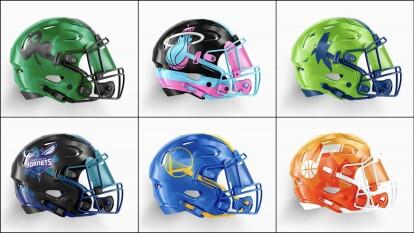 En un mundo paralelo, los equipos de la NBA visualizados en cascos de futbol americano no se verían nada mal