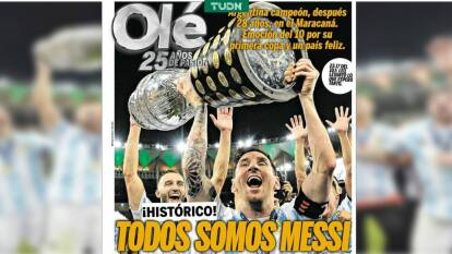 La prensa argentina resalta la Copa América conseguida por Lionel Messi sobre Brasil.