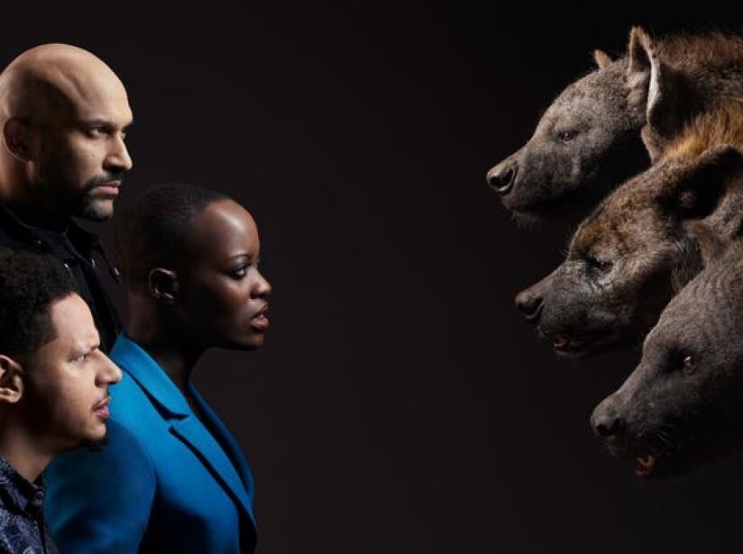 Florence Kasumba, Eric Andre, and Keegan-Michael Key.jpg
