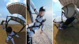 Juanpa Zurita se da tremendo ranazo al aterrizar del paracaídas y enseña su caída