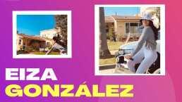 Eiza González terminó en el suelo por posar para la foto mientras andaba en bicicleta