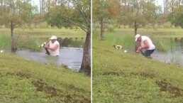 Hombre salvó a su perro de ser comido por un cocodrilo: ¡se lo sacó de la boca!