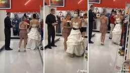 Mujer vestida de novia llega al trabajo de su pareja para exigirle que se case con ella