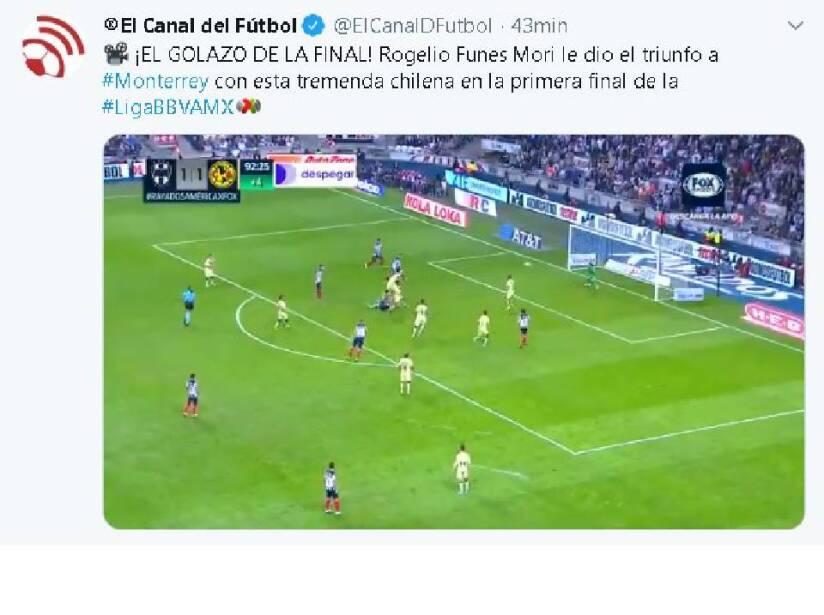 No paran los elogios para el gol que le hizo al América en el juego de ida de la Final de la Liga MX.