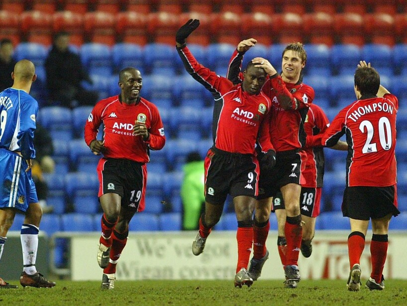 Andy Cole of Blackburn celebrates scoring