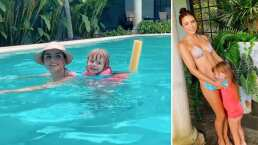 Kailani encontró al mejor flotis para nadar en la alberca: su mamá, Aislinn Derbez