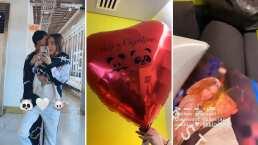 Belinda le demuestra su amor a Nodal y le lleva un montón de globos hasta su camerino