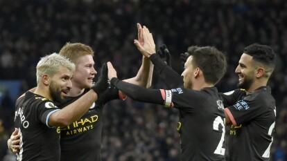 Con triplete de Segio Agüero, doblete de Riyad Mahrez y gol de Gabriel Jesus, Manchester City golea 1-6 al Aston Villa en su casa.