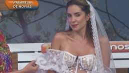 ¡Lo traía en la cajuela!: Andrea Escalona luce elegante vestido de novia con transparencias