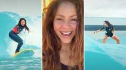 Shakira luce como toda una profesional al surfear en el Wavegarden