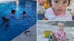 Así fue la primera clase de natación de Emi y Pau, las mellizas de Jacky Bracamontes