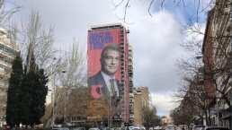 Quiere ganar la presidencia del Barça y coloca pancarta cerca del Bernabéu