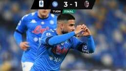 Sin 'Chucky' Lozano, Insigne saca la victoria para Napoli