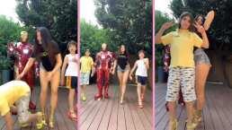 Ana Bárbara le enseña a sus hijos a caminar en tacones y uno termina en el suelo