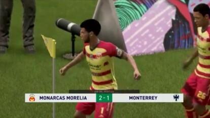 César Huerta le dio la victoria a Morelia 2-1 en su 'visita' a la Sultana del Norte. Aunque fue un encuentro parejo, Luis Cárdenas se vio superado y recibió dos goles en su primera derrota del futbol virtual.