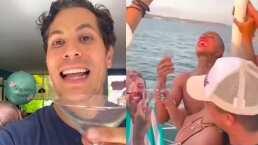 """Con copita en mano, Christian Chávez reaccionó al video de Karol G cantando """"Sálvame"""""""