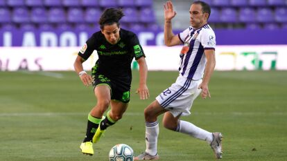 Valladolid 2-0 Betis   Sergio Guardiola (45+2') abrió el marcador al final del primer tiempo y Óscar Plano aumentó la diferencia a los 63' del juego. Diego Lainez ingresó a la cancha al 71'; Andrés Guardado no participó en el juego. Betis cierra la competición con 41 unidades; Valladolid libró el descenso con 42 puntos.