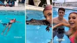 Critican a Lele Pons tras aparecer nadando con un cocodrilo con el hocico amarrado
