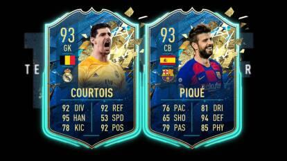En el equipo de la temporada de la comunidad se incluye, de acuerdo con los votos de los fans, a los mejores futbolistas de todo el mundo que han recibido como máximo un artículo especial basado en el rendimiento en FUT 20. Piqué y Courtois comandan el equipo.