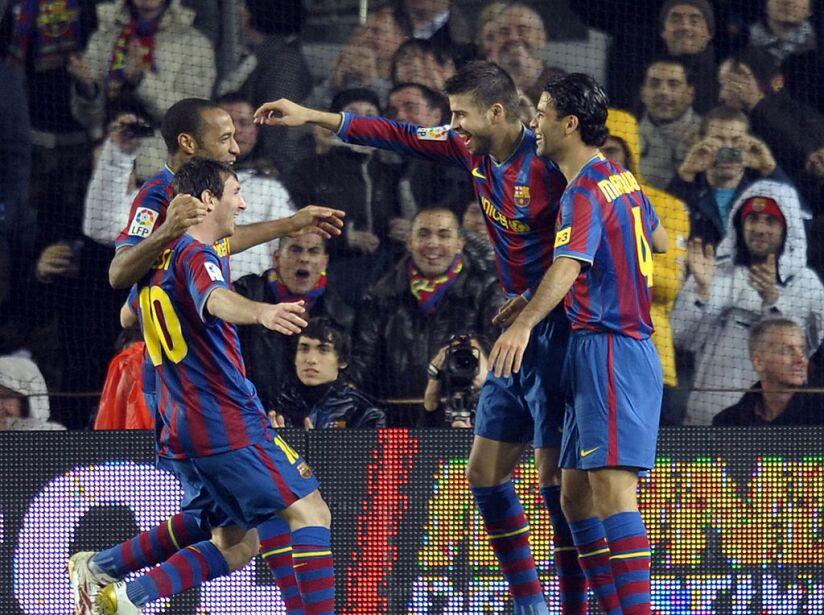 (FromL) Barcelona's Argentinian forward