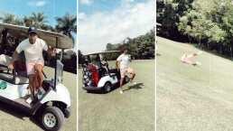 Sebastián Yatra quiso hacer una acrobacia con un carrito de golf y se llevó una fuerte caída