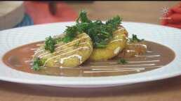 RECETA: Tortitas de plátano macho y amaranto, rellenas de quesillo en salsa de frijol