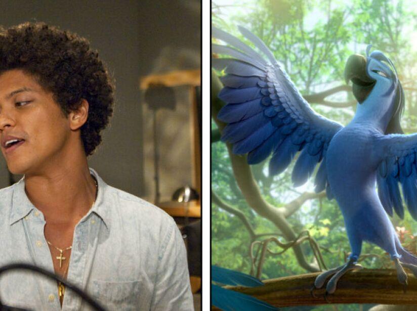 5. Bruno Mars: El cantante también formó parte de Río, donde hizo la voz de un ave exótica llamada Roberto.